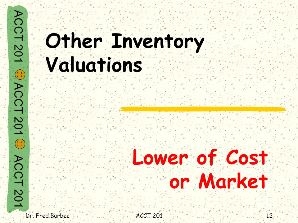 ACCT 201 ACCT 201 ACCT 201 Dr. Fred BarbeeACCT 20112 Lower of Cost or Market Other Inventory Valuations