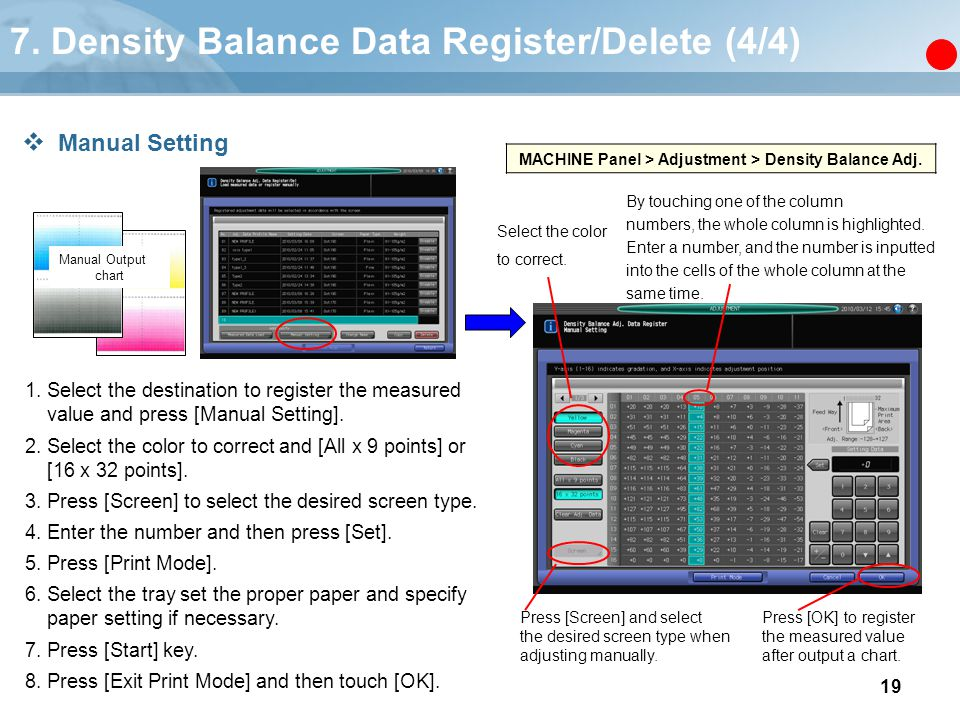 19 MACHINE Panel > Adjustment > Density Balance Adj. 1. Select the destination to register the measured value and press [Manual Setting]. 2. Select th