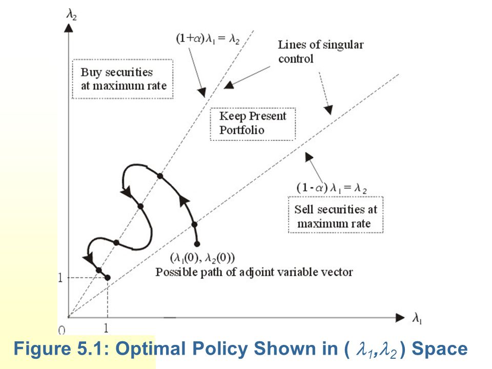 Figure 5.1: Optimal Policy Shown in ( 1, 2 ) Space