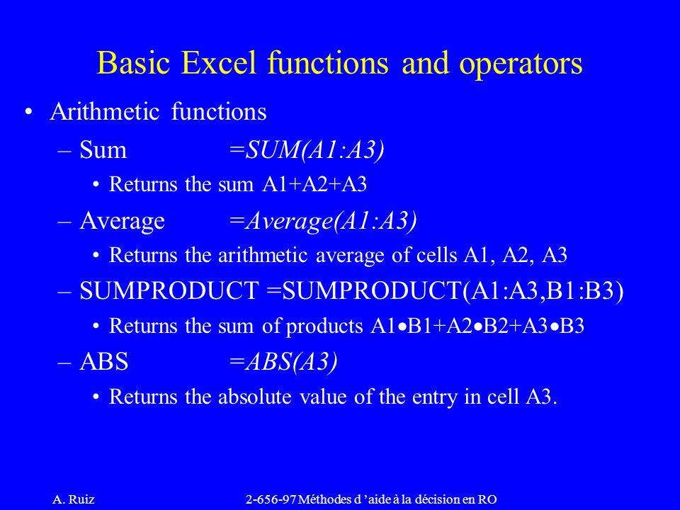 A. Ruiz2-656-97 Méthodes d 'aide à la décision en RO Arithmetic functions –Sum=SUM(A1:A3) Returns the sum A1+A2+A3 –Average=Average(A1:A3) Returns the