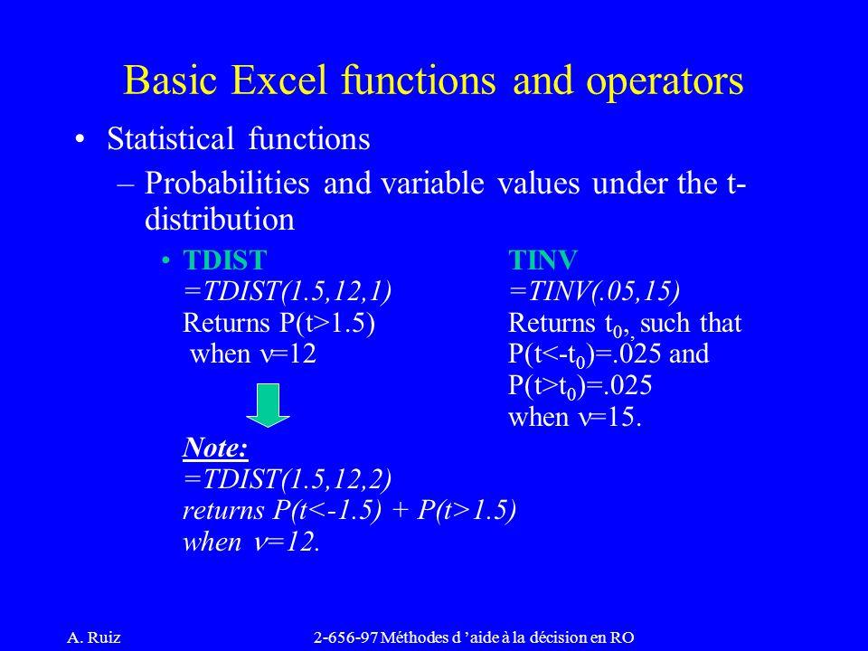 A. Ruiz2-656-97 Méthodes d 'aide à la décision en RO Statistical functions –Probabilities and variable values under the t- distribution TDISTTINV =TDI
