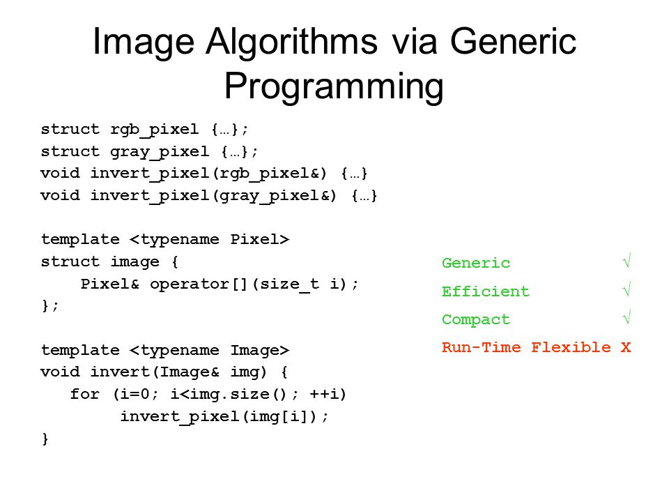Image Algorithms via Generic Programming struct rgb_pixel {…}; struct gray_pixel {…}; void invert_pixel(rgb_pixel&) {…} void invert_pixel(gray_pixel&) {…} template struct image { Pixel& operator[](size_t i); }; template void invert(Image& img) { for (i=0; i<img.size(); ++i) invert_pixel(img[i]); } Generic √ Efficient √ Compact √ Run-Time Flexible X
