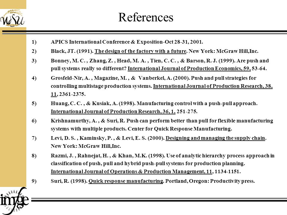 References 1)APICS International Conference & Exposition-Oct 28-31, 2001.