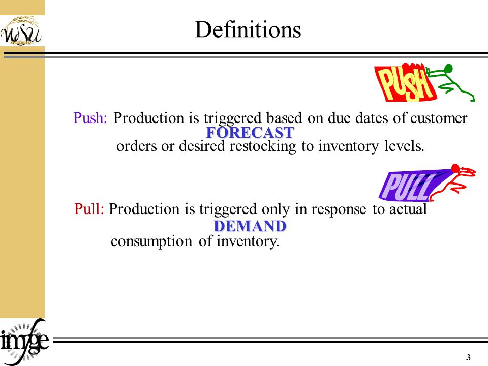 Definitions 3 Pull: Production is triggered only in response to actual consumption of inventory.