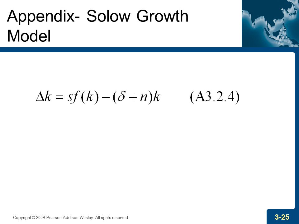 Copyright © 2009 Pearson Addison-Wesley. All rights reserved. 3-25 Appendix- Solow Growth Model