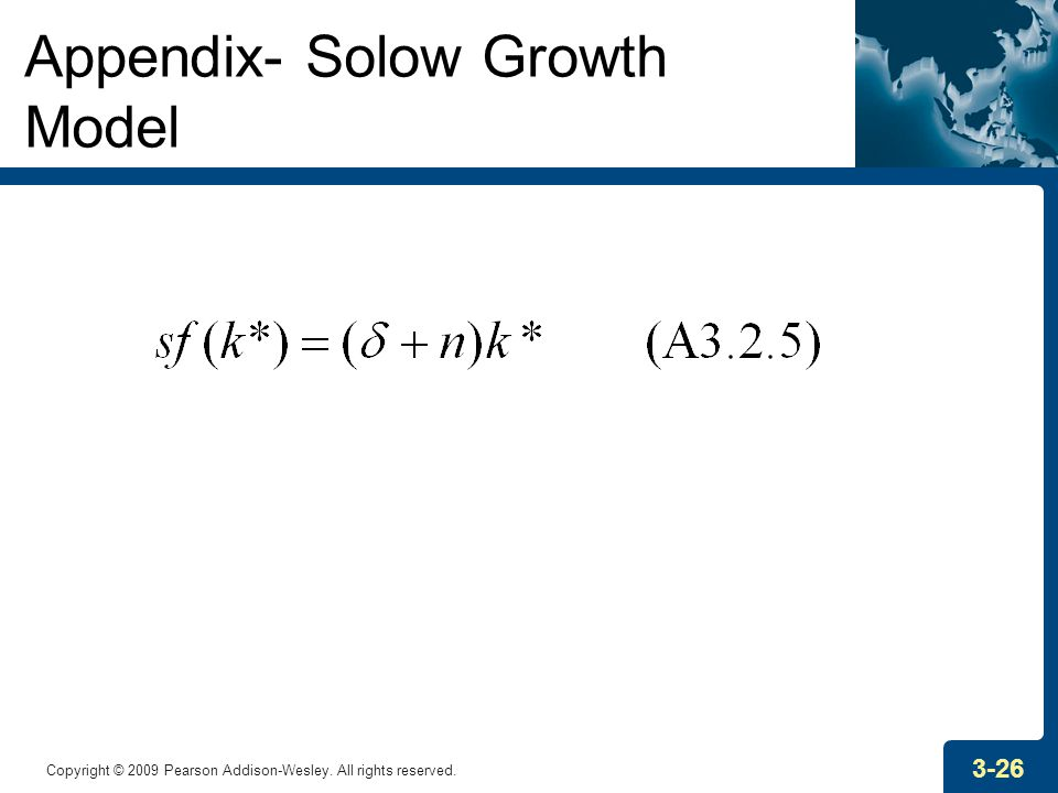 Copyright © 2009 Pearson Addison-Wesley. All rights reserved. 3-26 Appendix- Solow Growth Model