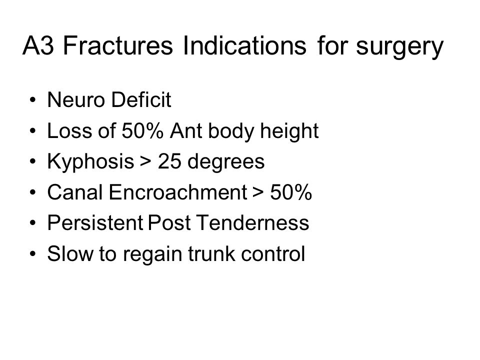 A3 Fractures Indications for surgery Neuro Deficit Loss of 50% Ant body height Kyphosis > 25 degrees Canal Encroachment > 50% Persistent Post Tenderne