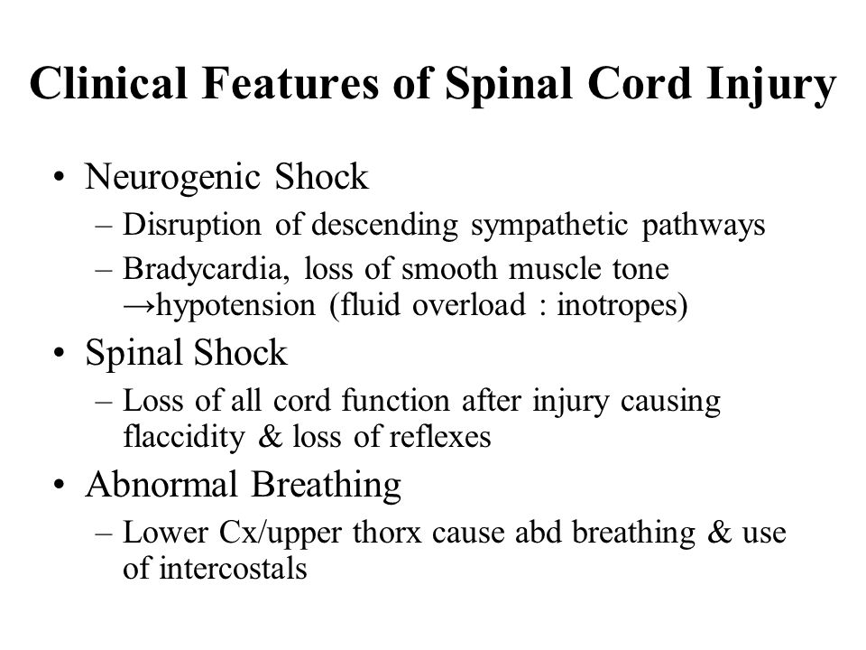 Clinical Features of Spinal Cord Injury Neurogenic Shock –Disruption of descending sympathetic pathways –Bradycardia, loss of smooth muscle tone →hypo