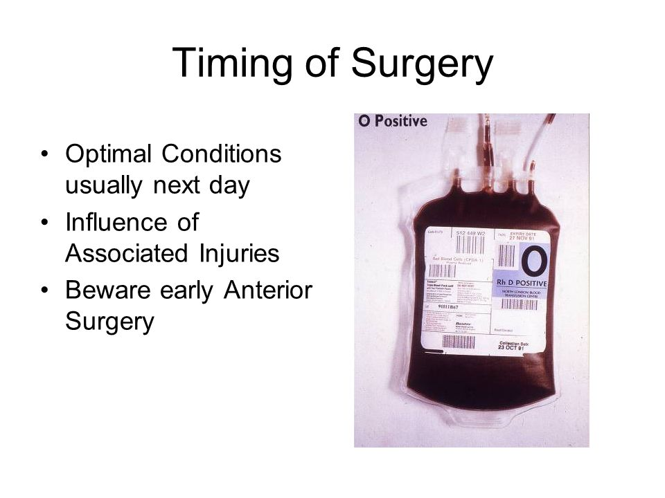 Timing of Surgery Optimal Conditions usually next day Influence of Associated Injuries Beware early Anterior Surgery