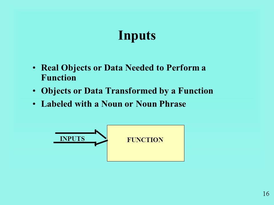 16 Inputs Real Objects or Data Needed to Perform a Function Objects or Data Transformed by a Function Labeled with a Noun or Noun Phrase INPUTS FUNCTION