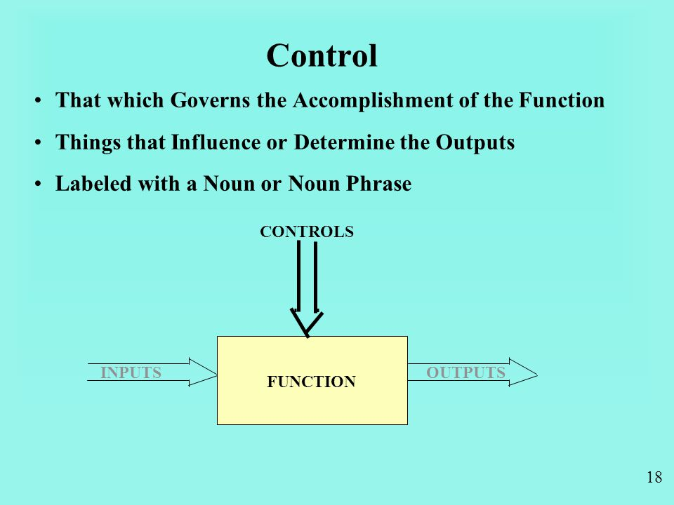 18 Control That which Governs the Accomplishment of the Function Things that Influence or Determine the Outputs Labeled with a Noun or Noun Phrase INPUTSOUTPUTS CONTROLS FUNCTION