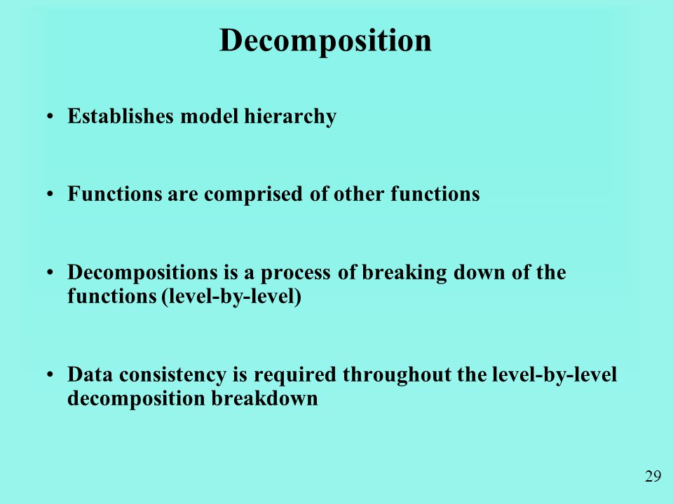 29 Decomposition Establishes model hierarchy Functions are comprised of other functions Decompositions is a process of breaking down of the functions (level-by-level) Data consistency is required throughout the level-by-level decomposition breakdown