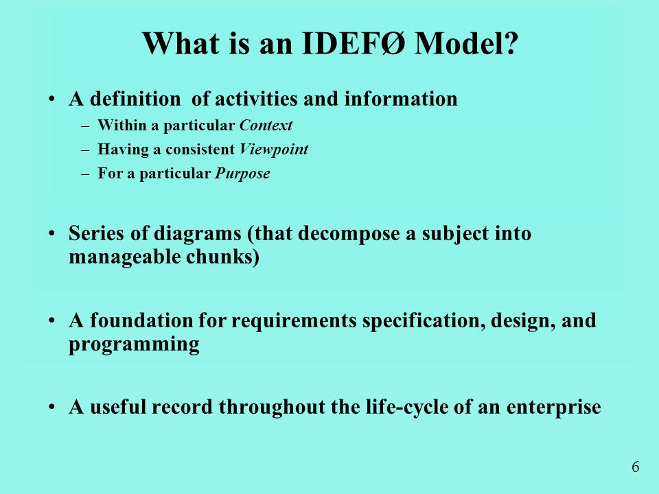 6 What is an IDEFØ Model.