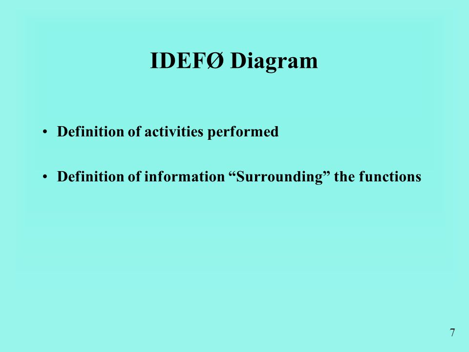 7 IDEFØ Diagram Definition of activities performed Definition of information Surrounding the functions