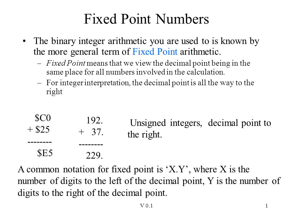 V 0.11 Fixed Point Numbers The binary integer arithmetic you are used to is known by the more general term of Fixed Point arithmetic. –Fixed Point mea