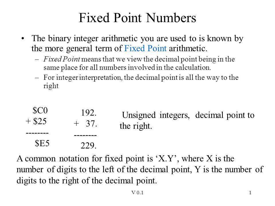 V 0.12 Fixed Point (cont).