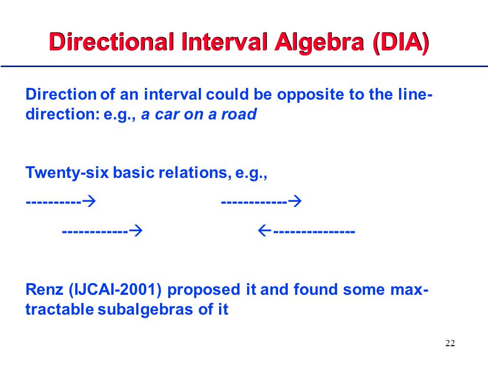 22 Directional Interval Algebra (DIA) Direction of an interval could be opposite to the line- direction: e.g., a car on a road Twenty-six basic relati