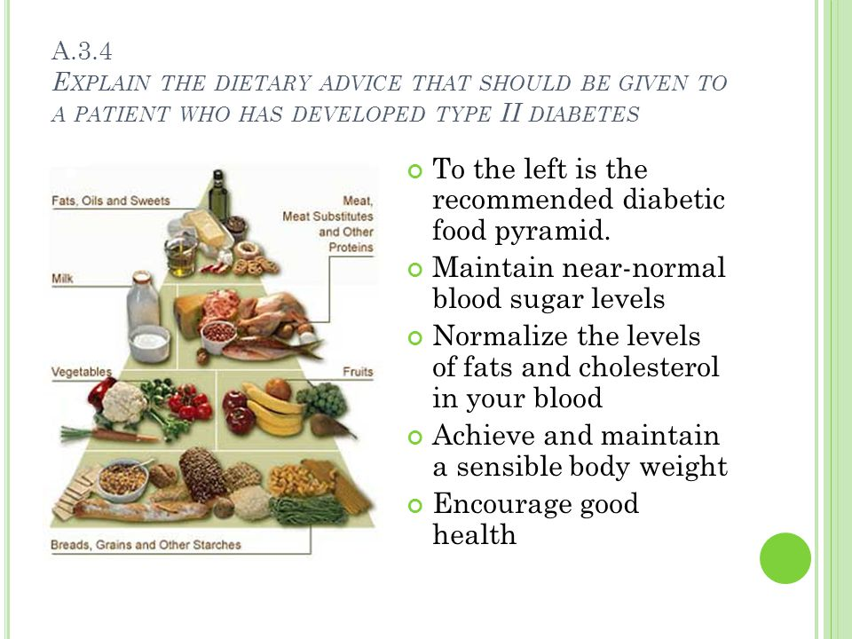 A.3.4 E XPLAIN THE DIETARY ADVICE THAT SHOULD BE GIVEN TO A PATIENT WHO HAS DEVELOPED TYPE II DIABETES To the left is the recommended diabetic food pyramid.