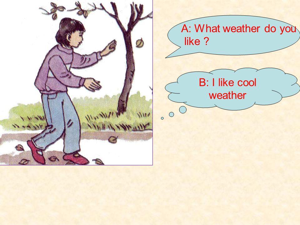 A: What weather do you like ? B: I like warm weather