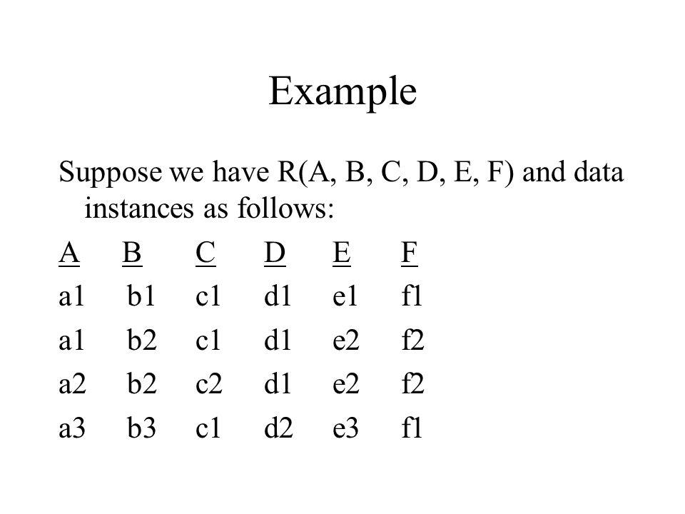 Example Suppose we have R(A, B, C, D, E, F) and data instances as follows: A BCDEF a1b1c1d1e1f1 a1b2c1d1e2f2 a2b2c2d1e2f2 a3b3c1d2e3f1