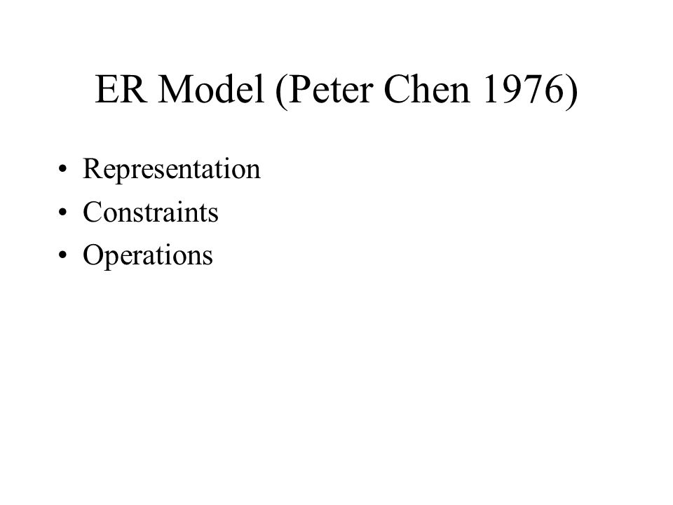 ER Model (Peter Chen 1976) Representation Constraints Operations