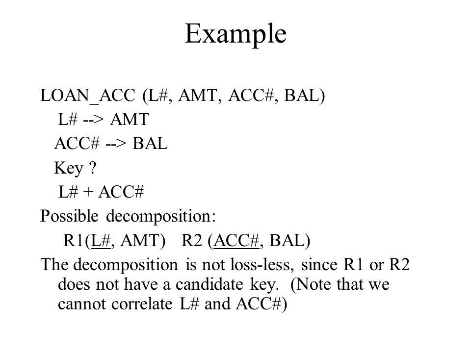 Example LOAN_ACC (L#, AMT, ACC#, BAL) L# --> AMT ACC# --> BAL Key .