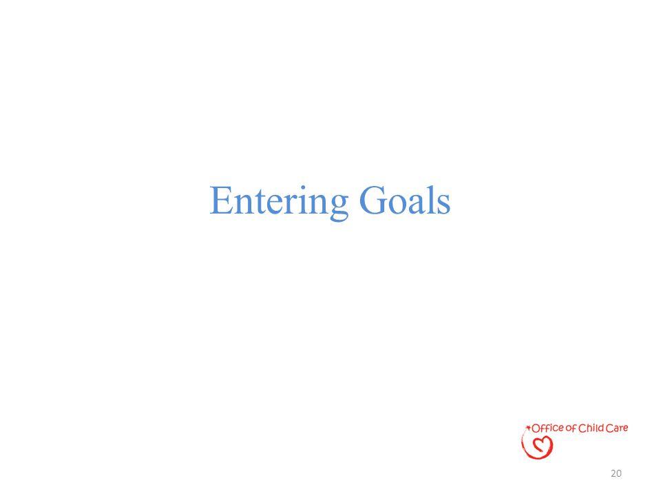 Entering Goals 20