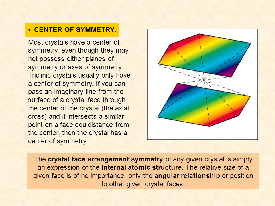 CENTER OF SYMMETRY. Most crystals have a center of symmetry, even though they may not possess either planes of symmetry or axes of symmetry. Triclinic