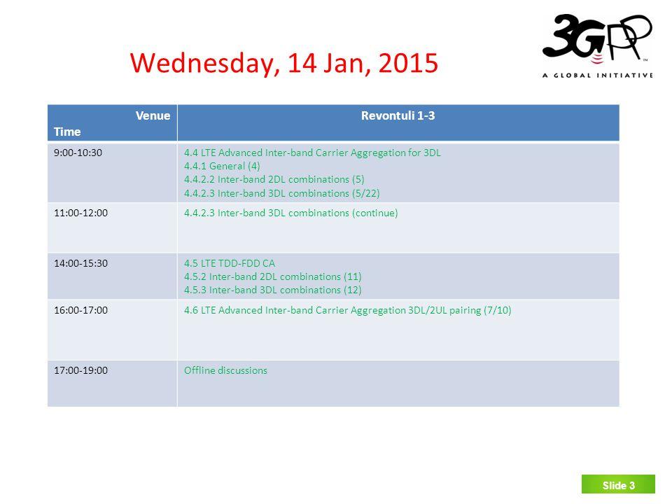 SLIDE 3 Wednesday, 14 Jan, 2015 Slide 3 Venue Time Revontuli 1-3 9:00-10:30 4.4 LTE Advanced Inter-band Carrier Aggregation for 3DL 4.4.1 General (4)