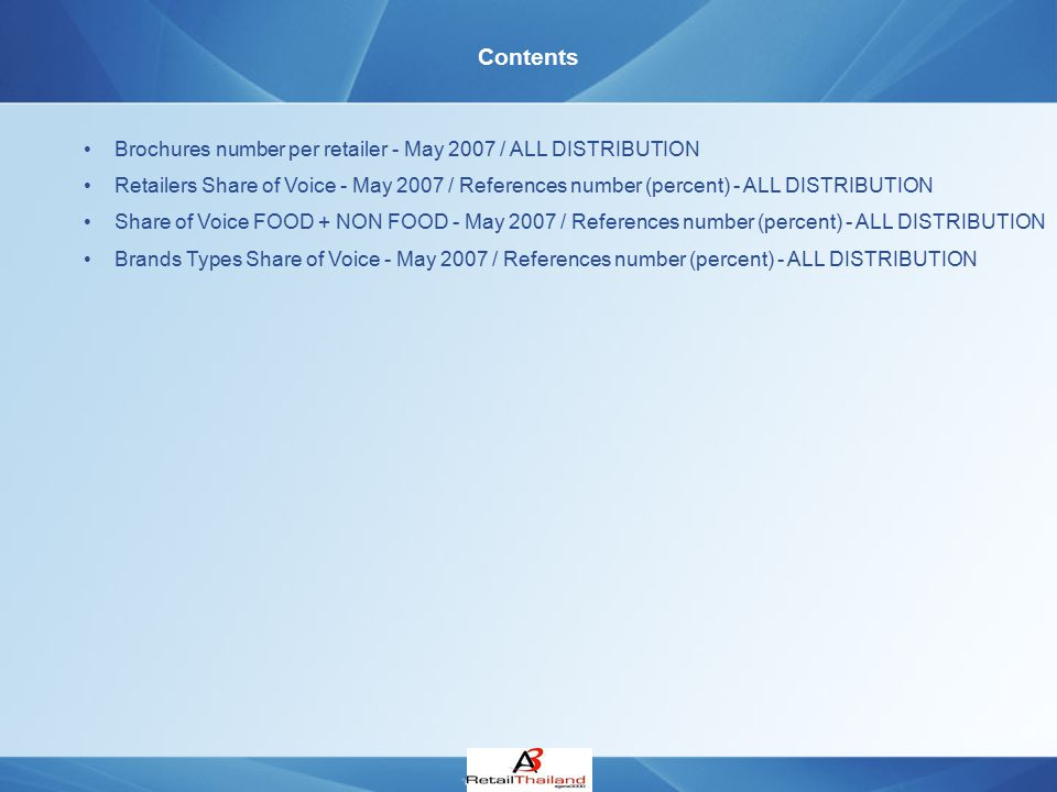 Contents Brochures number per retailer - May 2007 / ALL DISTRIBUTION Retailers Share of Voice - May 2007 / References number (percent) - ALL DISTRIBUT