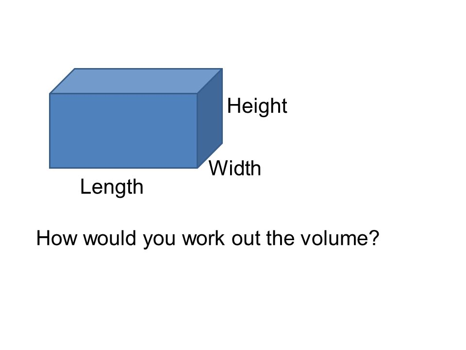 Length Width Height How would you work out the volume?