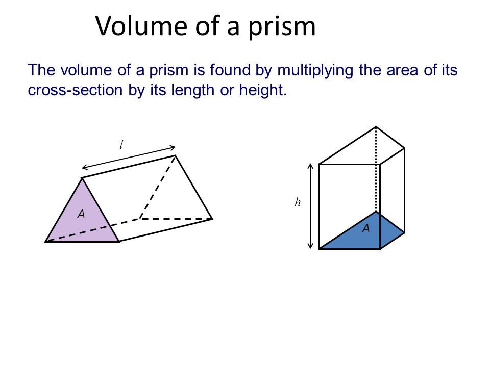 Volume of a prism The volume of a prism is found by multiplying the area of its cross-section by its length or height. A l A h