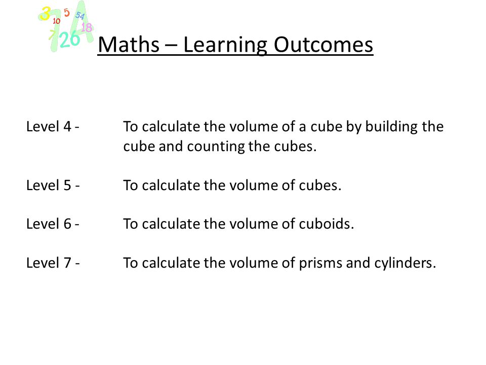 Maths – Learning Outcomes Level 4- To calculate the volume of a cube by building the cube and counting the cubes. Level 5 -To calculate the volume of