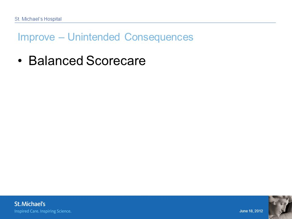 June 18, 2012 St. Michael's Hospital Improve – Unintended Consequences Balanced Scorecare