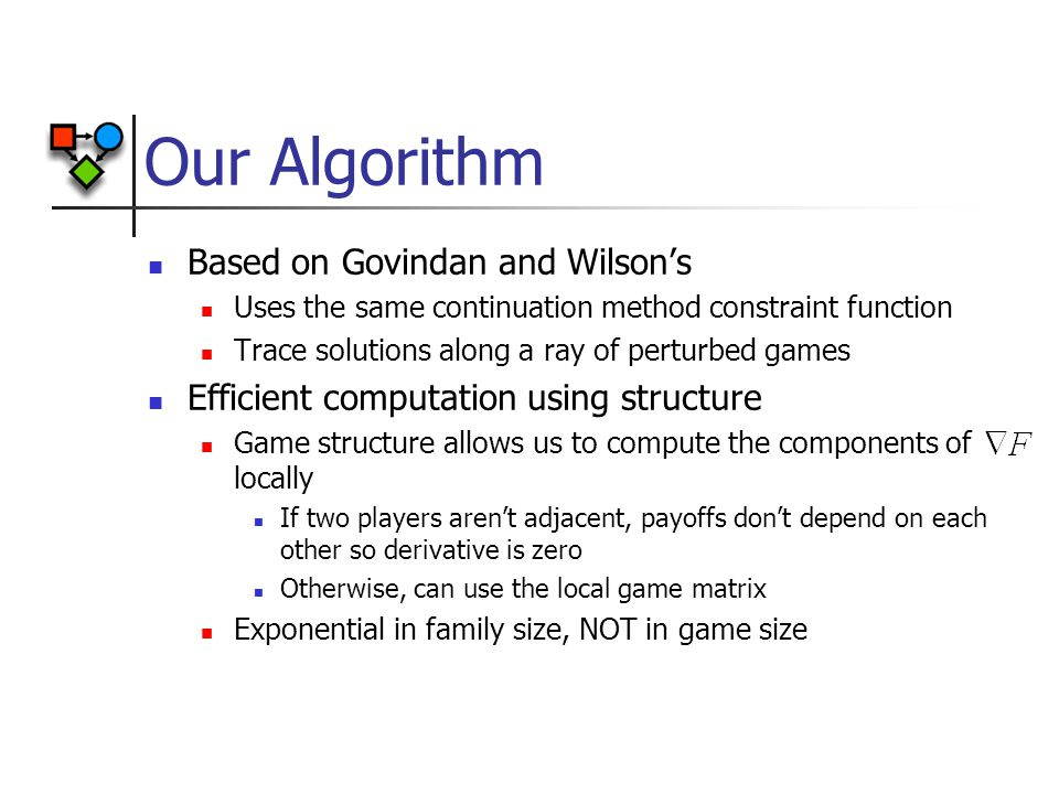 Our Algorithm Based on Govindan and Wilson's Uses the same continuation method constraint function Trace solutions along a ray of perturbed games Efficient computation using structure Game structure allows us to compute the components of locally If two players aren't adjacent, payoffs don't depend on each other so derivative is zero Otherwise, can use the local game matrix Exponential in family size, NOT in game size