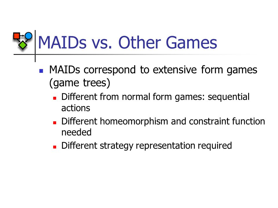 MAIDs vs. Other Games MAIDs correspond to extensive form games (game trees) Different from normal form games: sequential actions Different homeomorphi
