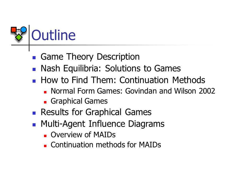 Outline Game Theory Description Nash Equilibria: Solutions to Games How to Find Them: Continuation Methods Normal Form Games: Govindan and Wilson 2002 Graphical Games Results for Graphical Games Multi-Agent Influence Diagrams Overview of MAIDs Continuation methods for MAIDs