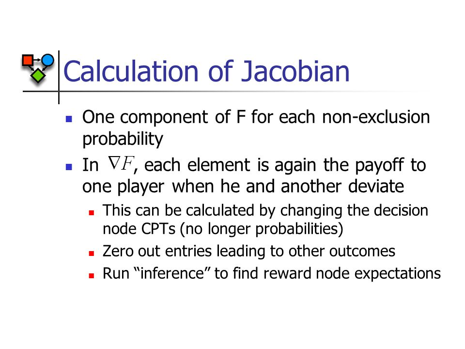 Calculation of Jacobian One component of F for each non-exclusion probability In, each element is again the payoff to one player when he and another deviate This can be calculated by changing the decision node CPTs (no longer probabilities) Zero out entries leading to other outcomes Run inference to find reward node expectations