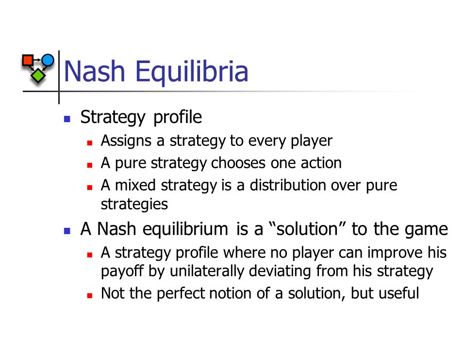 Nash Equilibria Strategy profile Assigns a strategy to every player A pure strategy chooses one action A mixed strategy is a distribution over pure strategies A Nash equilibrium is a solution to the game A strategy profile where no player can improve his payoff by unilaterally deviating from his strategy Not the perfect notion of a solution, but useful