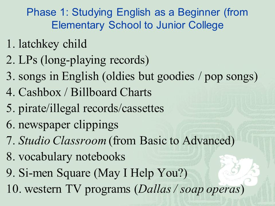 Phase 1: Studying English as a Beginner (from Elementary School to Junior College 1.
