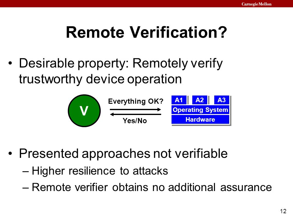 12 Desirable property: Remotely verify trustworthy device operation Presented approaches not verifiable –Higher resilience to attacks –Remote verifier obtains no additional assurance Remote Verification.