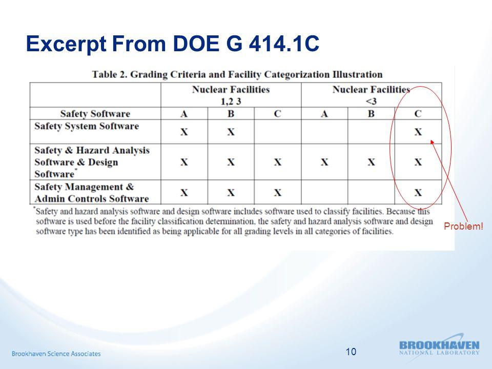 10 Excerpt From DOE G 414.1C Problem!
