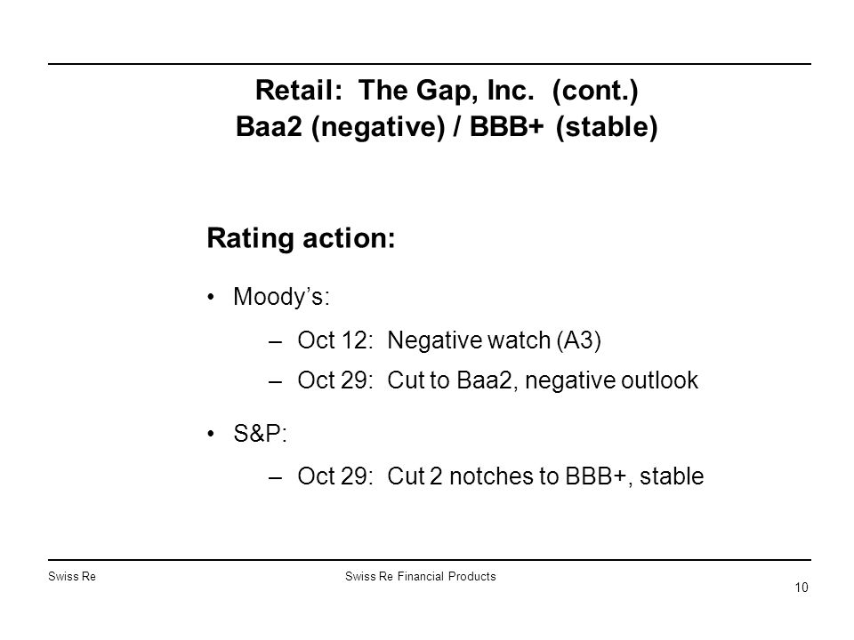 Swiss ReSwiss Re Financial Products 10 Retail: The Gap, Inc. (cont.) Baa2 (negative) / BBB+ (stable) Rating action: Moody's: –Oct 12: Negative watch (