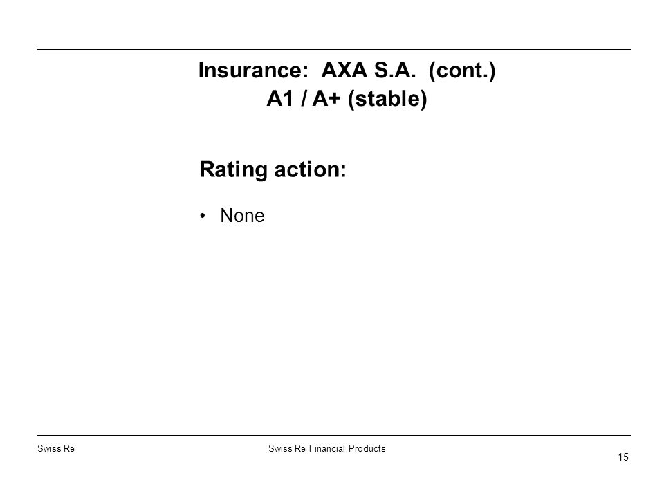 Swiss ReSwiss Re Financial Products 15 Insurance: AXA S.A. (cont.) A1 / A+ (stable) Rating action: None