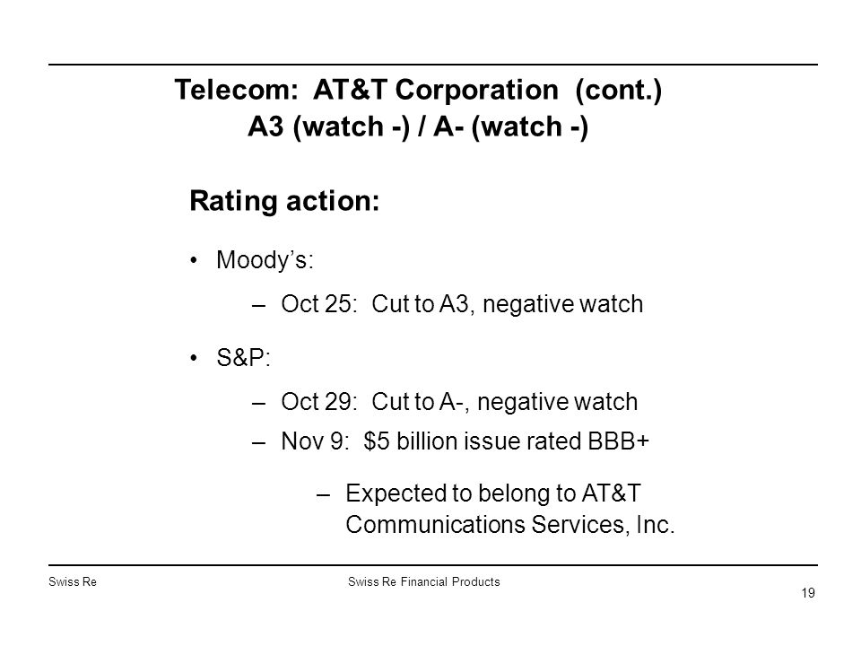 Swiss ReSwiss Re Financial Products 19 Telecom: AT&T Corporation (cont.) A3 (watch -) / A- (watch -) Rating action: Moody's: –Oct 25: Cut to A3, negative watch S&P: –Oct 29: Cut to A-, negative watch –Nov 9: $5 billion issue rated BBB+ –Expected to belong to AT&T Communications Services, Inc.