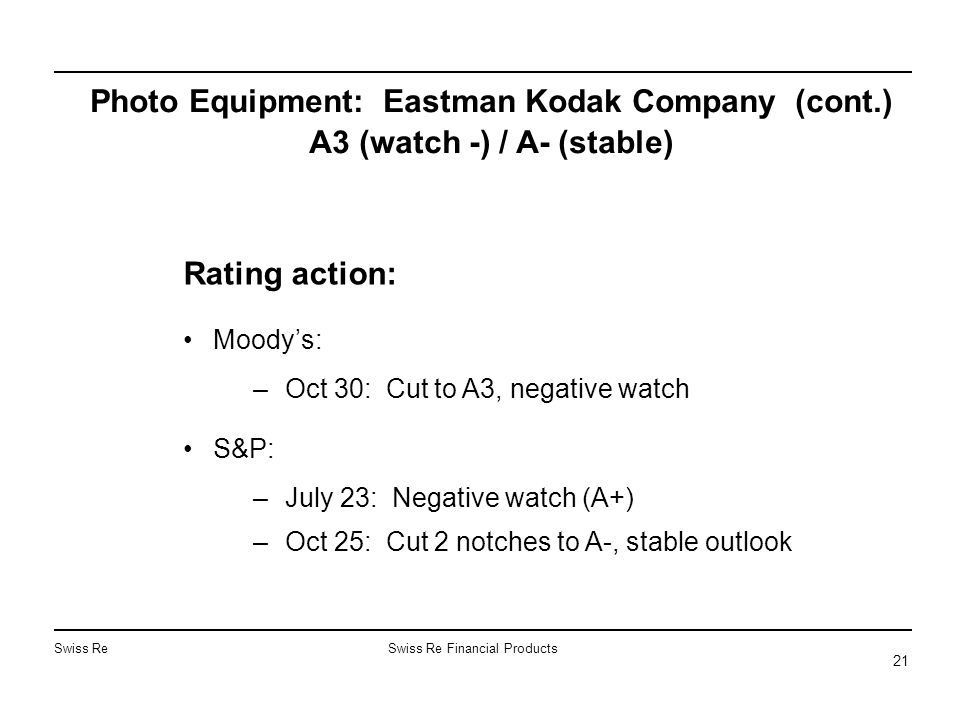Swiss ReSwiss Re Financial Products 21 Photo Equipment: Eastman Kodak Company (cont.) A3 (watch -) / A- (stable) Rating action: Moody's: –Oct 30: Cut to A3, negative watch S&P: –July 23: Negative watch (A+) –Oct 25: Cut 2 notches to A-, stable outlook