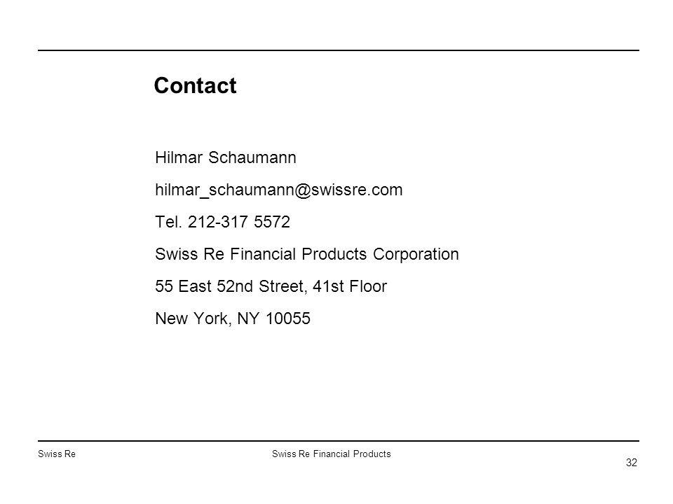 Swiss ReSwiss Re Financial Products 32 Contact Hilmar Schaumann hilmar_schaumann@swissre.com Tel. 212-317 5572 Swiss Re Financial Products Corporation