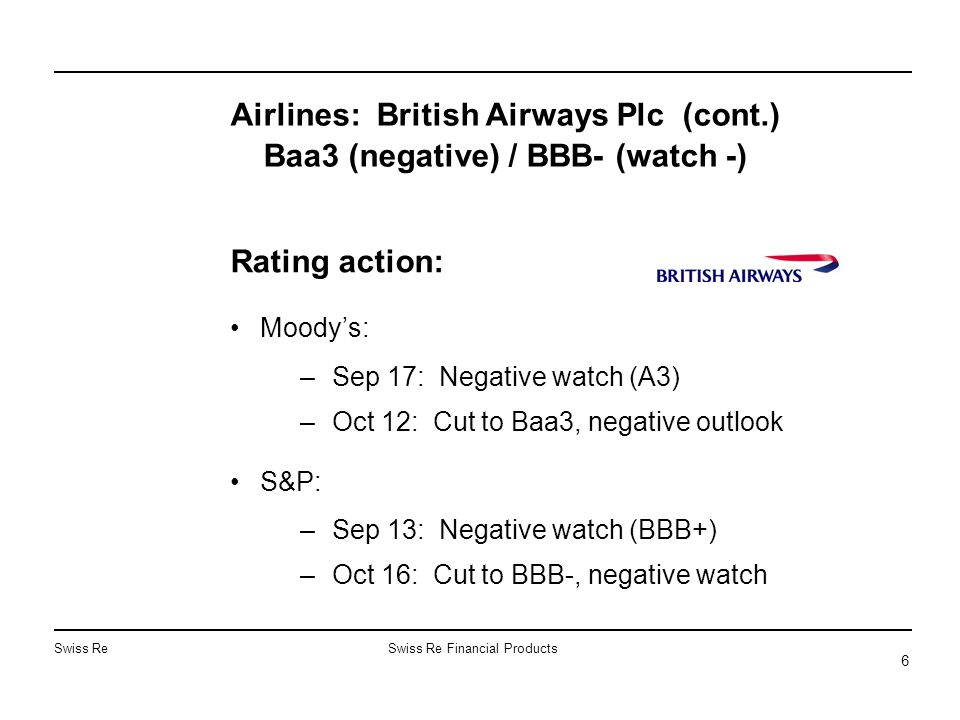 Swiss ReSwiss Re Financial Products 6 Rating action: Moody's: –Sep 17: Negative watch (A3) –Oct 12: Cut to Baa3, negative outlook S&P: –Sep 13: Negative watch (BBB+) –Oct 16: Cut to BBB-, negative watch Airlines: British Airways Plc (cont.) Baa3 (negative) / BBB- (watch -)