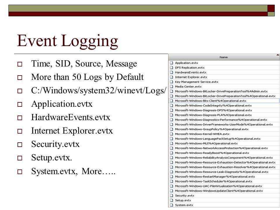 Event Logging  Time, SID, Source, Message  More than 50 Logs by Default  C:/Windows/system32/winevt/Logs/  Application.evtx  HardwareEvents.evtx  Internet Explorer.evtx  Security.evtx  Setup.evtx.