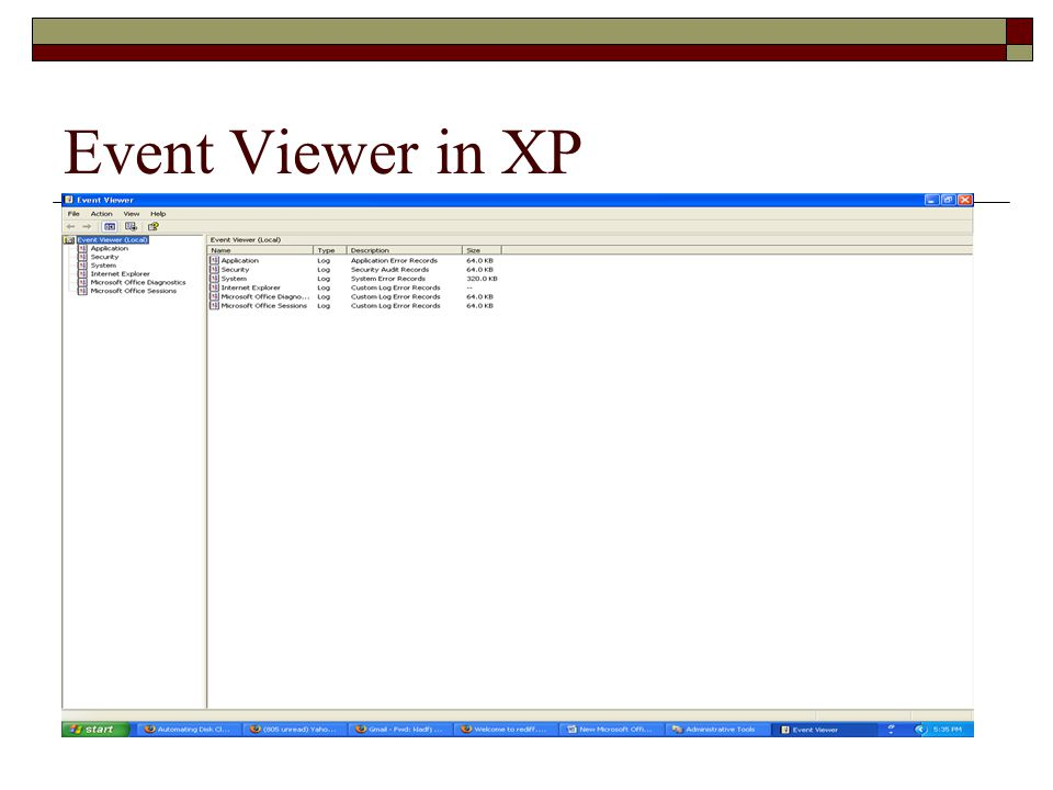 Event Viewer in XP